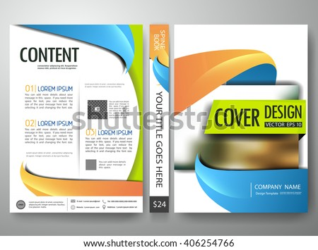 Flyers annual report brochure design template vector. Leaflet cover book presentation with abstract blur background.Layout in A4 size with spine book.Green orange blue abstract background. - stock vector