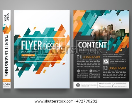 Flyers design template vector.Brochure report business magazine poster.Abstract green cover book portfolio presentation.Flat yellow triangle on poster design layout.City design on A4 brochure layout.