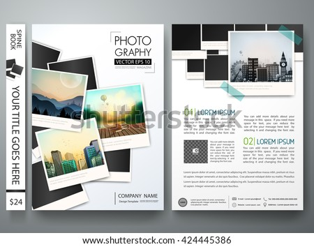 Flyers design template vector.Photography brochure report business magazine poster template.Cover photography book postcard portfolio or presentation with picture design.Brochure layout in A4 size
