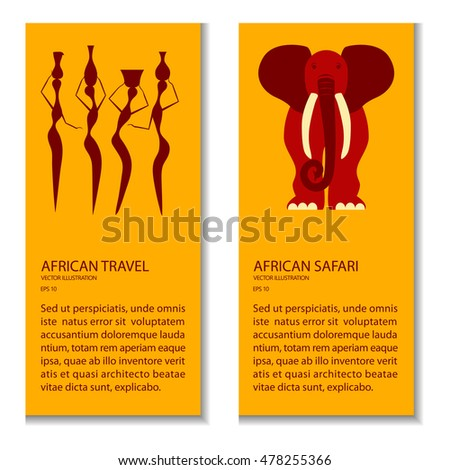 Flyers Explore the world. Conceptual ethnic illustration with african people and elephant made in flat design style Travel to africa banner template. Vector eps10