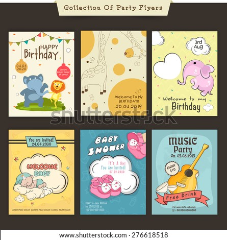 Flyers Or Invitations Of Birthday, Baby Shower And Music Party Celebration.