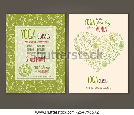 Flyers template for yoga class. Yoga quote. Yoga Vector seamless pattern is under clipping mask. - stock vector