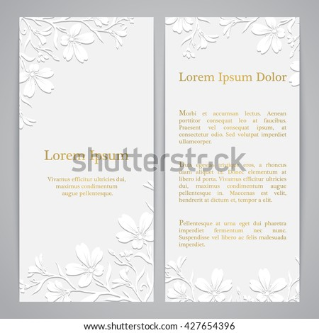 Flyers with chickweed (tomentosum) graphic flowers. Embossed paper imitation - stock vector