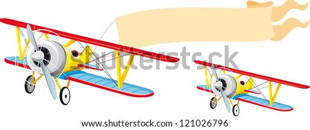 Flying a small plane with a banner waving behind - stock vector
