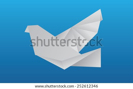 Flying, abstract, vector, origami bird blue background.