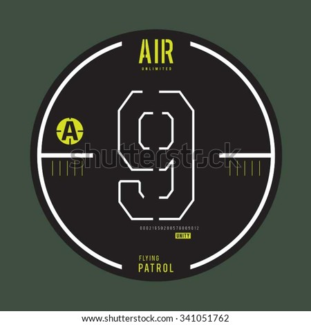 Flying air patrol typography, t-shirt graphics, vectors, army,  - stock vector