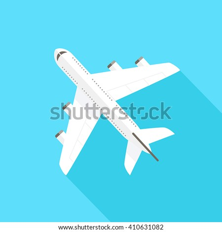 Flying airplane - flat design style. Can be used to illustrate topics like tourism, travel, transportation, holidays. - stock vector