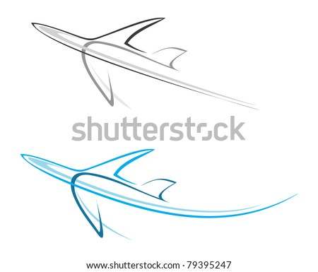 Flying airplane - stylized vector illustration. Grey icon on white background. Isolated design element. Airliner, jet.