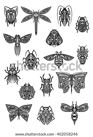 Flying and crawling insects in tribal style for tattoo or decoration design with butterfly and dragonfly, bee and wasp, hornet and ladybug, ant and bumblebee, cricket and firefly, stag beetle and bugs - stock vector
