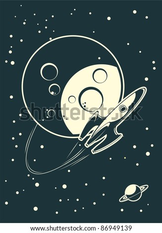 flying around the moon - stock vector