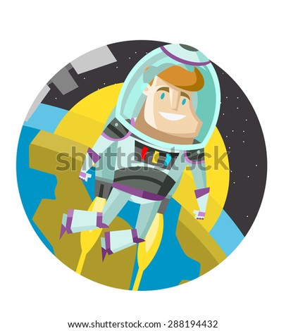 flying astronaut in space orbit - stock vector