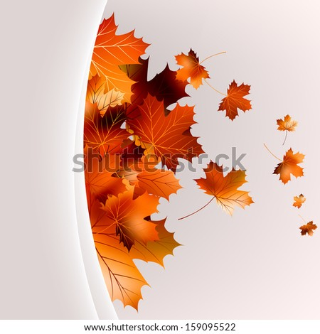 Flying autumn leaves background with copyspace. And also includes EPS 10 vector - stock vector