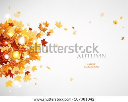Flying autumn leaves  background with space for text - stock vector