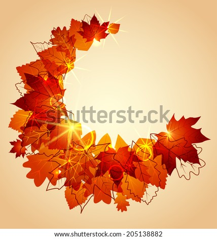 Flying autumn leaves background with space for text