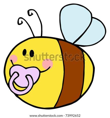 Flying Baby Bee Cartoon Character - stock vector