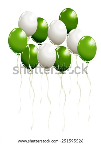 Flying balloons in white and green - stock vector