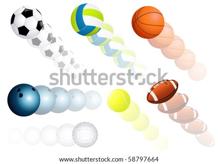 Flying balls, vector illustration - stock vector