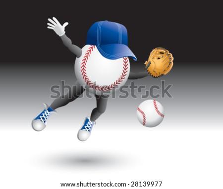 flying baseball man catching ball - stock vector