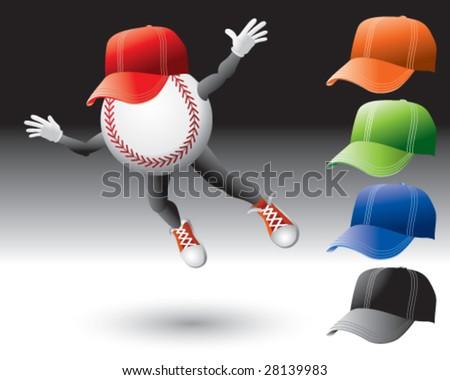 flying baseball man with hats - stock vector