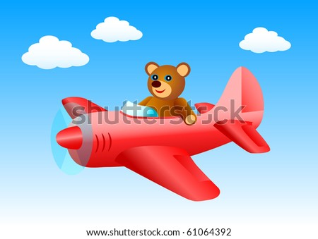 Flying bear - stock vector