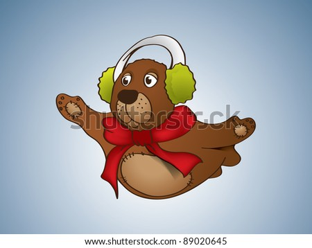 Flying bear with red scarf - stock vector