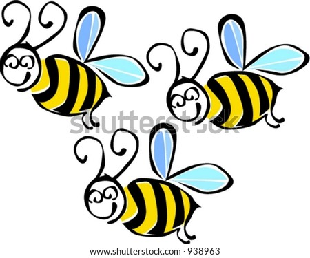 Flying bees illustration - stock vector