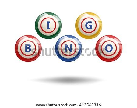 Flying Bingo Balls or Lottery Colorful Numbers. Bingo balls. Bingo balls with letters. Flying bingo balls. Vector illustration of bingo balls. Isolated on white. Bingo background. - stock vector