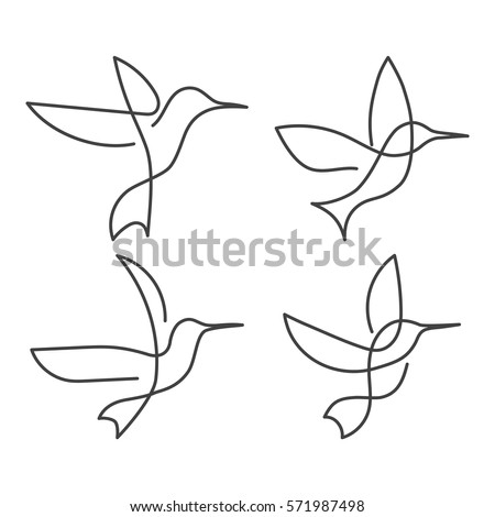 Flying bird continuous line drawing elements stock vector 571987498 shutterstock