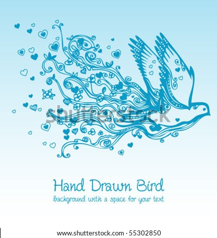 flying bird creative floral hand drawn card - stock vector