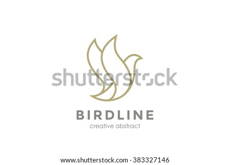 Flying Bird Logo design abstract vector template linear style.