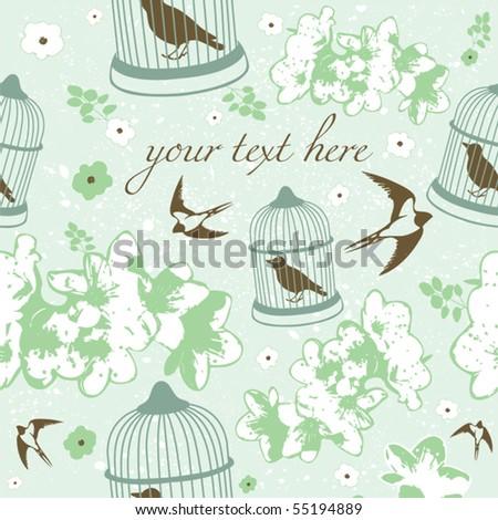 flying bird, vector card - stock vector