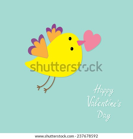 Flying bird with heart. Flat design style Happy Valentines day card Vector illustration