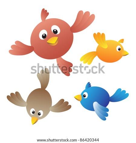 Flying birds on white background - stock vector