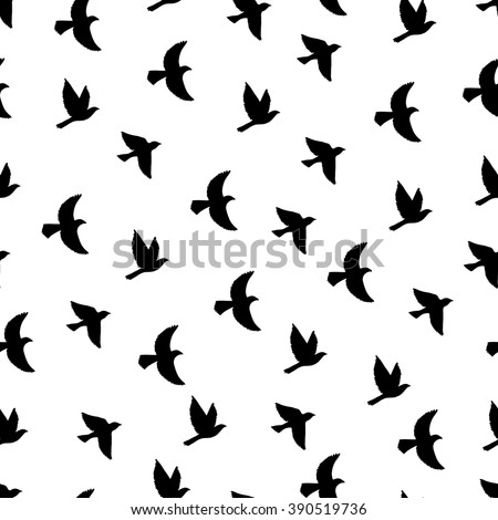 Flying birds seamless pattern. Silhouette a flock of birds. Bohemian style endless background.