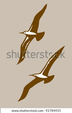flying birds silhouette on brown background, vector illustration - stock vector