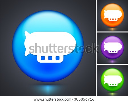 Flying Blimp on Blue Round Button - stock vector