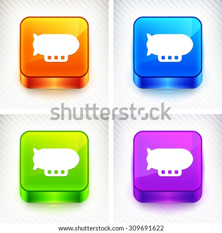 Flying Blimp on Color Square Buttons - stock vector