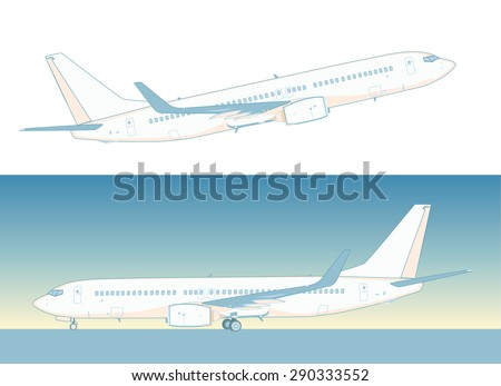 Flying Boeing airliner  isolated on white.