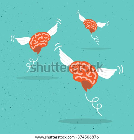 Flying brain. - stock vector
