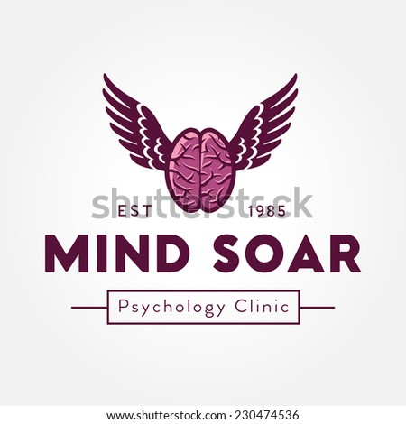 Flying brain with wings logo template, vector illustration - stock vector
