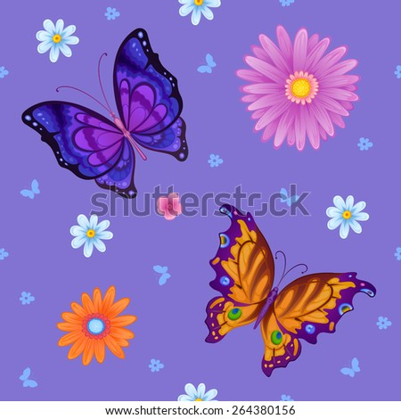 Flying bright butterflies resemble the summer. Background for beauty and a sense of celebration