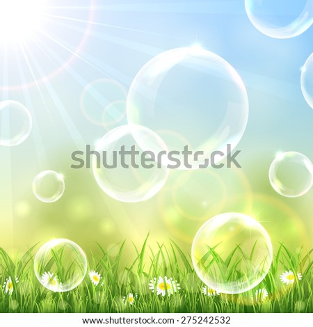 Flying bubbles above the grass on blue sunny background, illustration. - stock vector