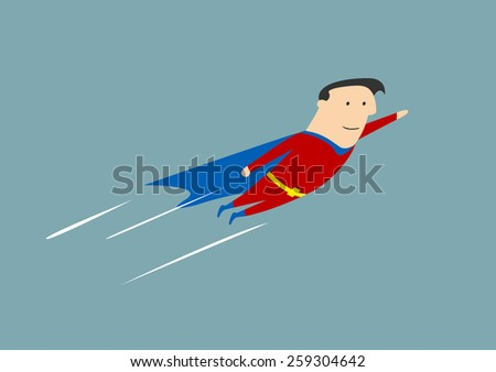 Flying businessman hero with outstretched arm for success concept - stock vector