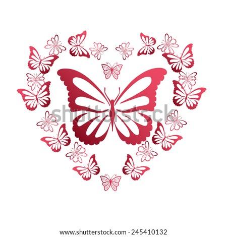 Flying butterflies in the shape of heart - stock vector