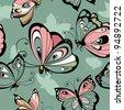 Flying butterflies  seamless pattern - stock vector