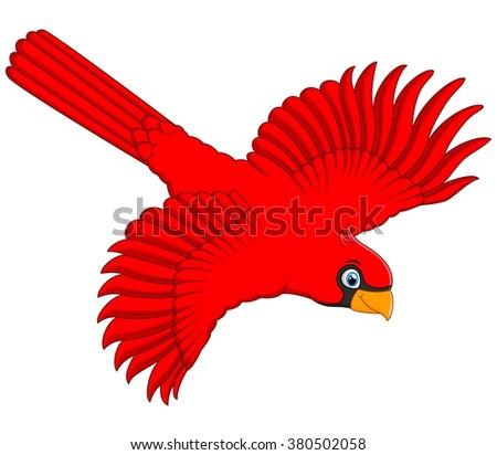 Flying Cardinal Cartoon Stock Vector 380502058 - Shutterstock