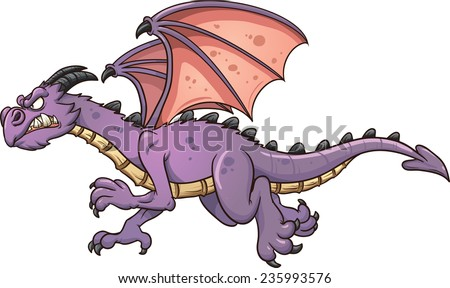 Flying cartoon dragon. Vector clip art illustration with simple gradients. All in a single layer.  - stock vector