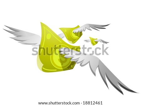 Flying cash - stock vector