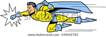 Flying classic retro superhero smiling and throwing a punch - stock vector