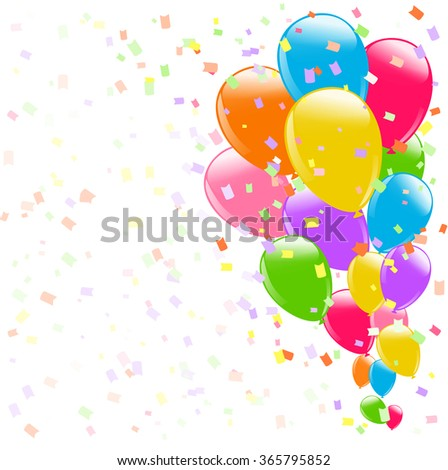 flying colorful balloons and confetti on white background